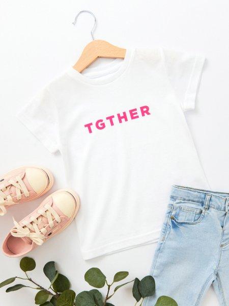 TGTHER T-SHIRT GIRLS WEISS PINK 2/3 JAHRE