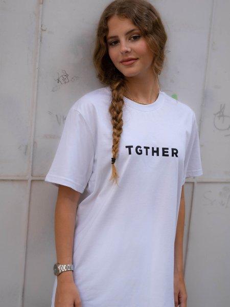 TGTHER T-SHIRT LADYS WEISS SCHWARZ mit Brustzugang S