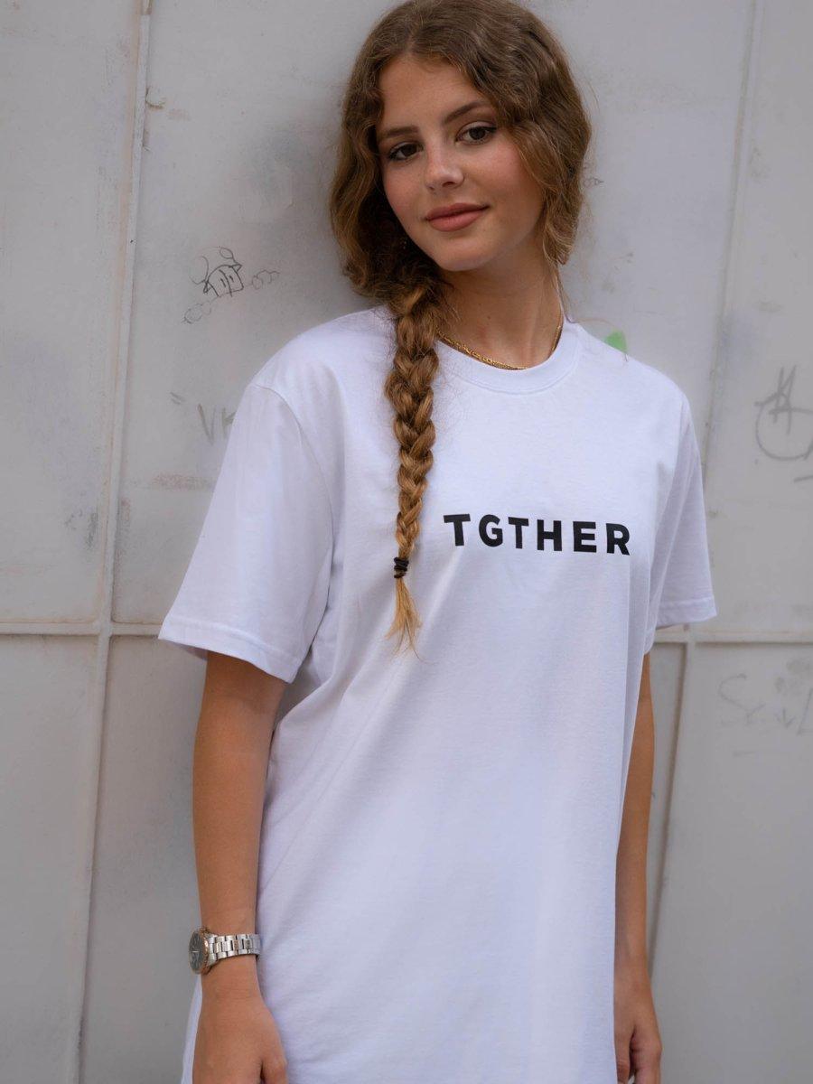 TGTHER T-SHIRT LADYS WEISS SCHWARZ mit Brustzugang M