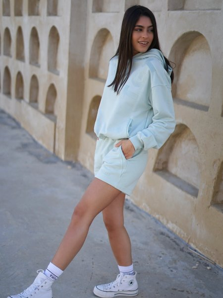 TGTHER CROPPED HOODIE DUSTY MINT XS